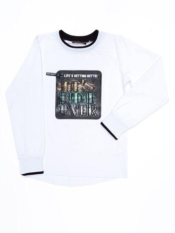 Biała bawełniana bluza dla dziewczynki z naszywką z ekoskóry