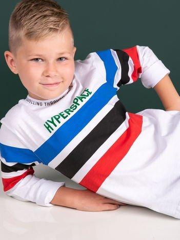 Biała bluzka dla chłopca z bawełny