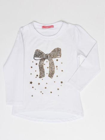 Biała bluzka dla dziewczynki z biżuteryjną kokardą
