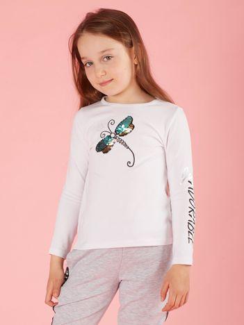 Biała bluzka dla dziewczynki z cekinowym motylem