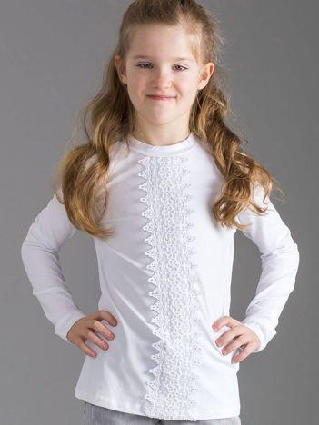 Biała bluzka dziewczęca z koronkową wstawką