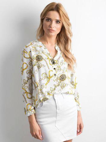 Biała bluzka koszulowa we wzory