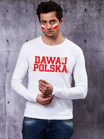 Biała bluzka męska dla kibica DAWAJ POLSKA