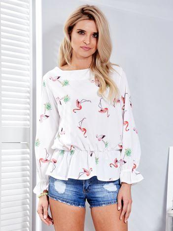 Biała bluzka w kolorowe flamingi