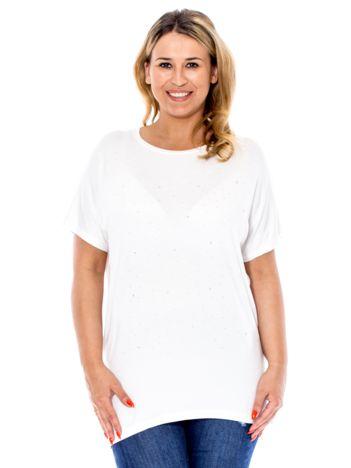 Biała bluzka z dżetami PLUS SIZE