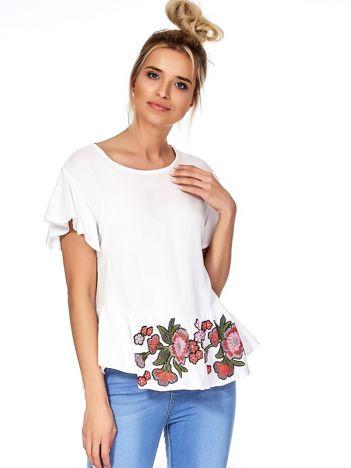 Biała bluzka z nadrukiem na falbanie