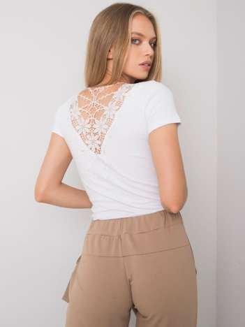 Biała bluzka z ozdobnym dekoltem z tyłu Haizea OCH BELLA