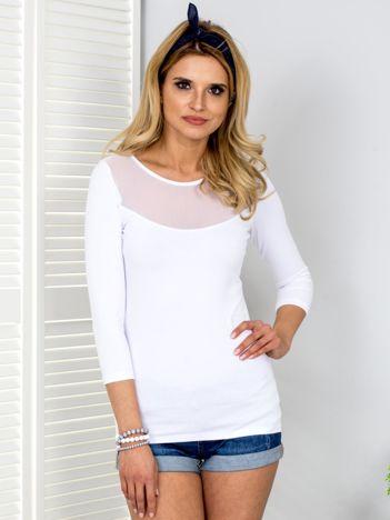 Biała bluzka z siateczkowym dekoltem