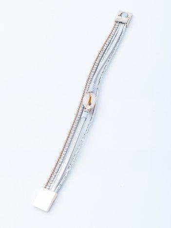 Biała bransoletka na magnez z muszelką