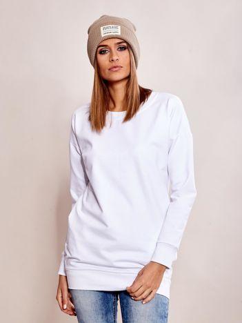 Biała długa bluza dresowa