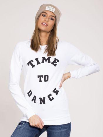 Biała dresowa bluza z bawełny z napisem