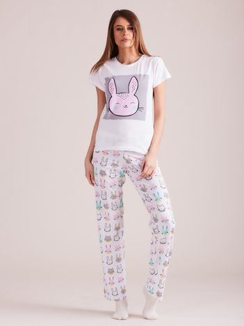 Biała dwuczęściowa piżama damska w króliki