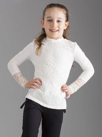 Biała elegancka bluzka dziewczęca z koronkową wstawką