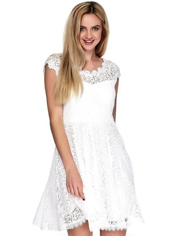 Biała koronkowa sukienka damska