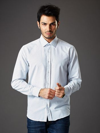 Biała koszula męska o klasycznym kroju we wzory