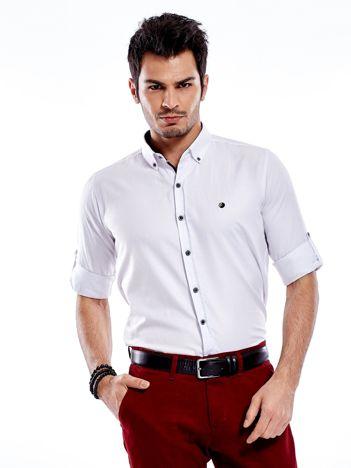 Biała koszula męska regular fit z podwijanymi rękawami