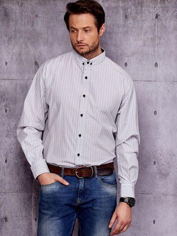 Biała koszula męska w drobną kolorową kratę PLUS SIZE