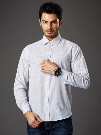 Biała koszula męska w kropki regular fit