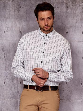 Biała koszula męska we wzór kraty PLUS SIZE