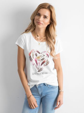 Biała koszulka damska z printem