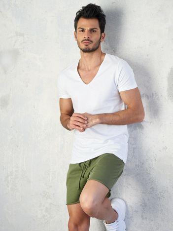 Biała koszulka męska V-neck