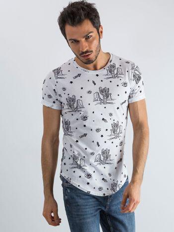 Biała koszulka męska z nadrukami
