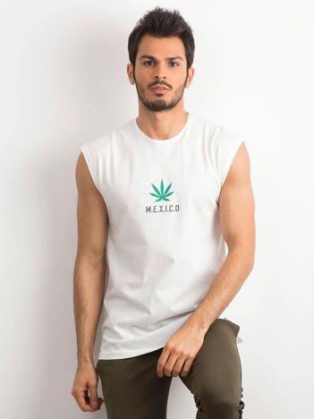 Biała koszulka męska z nadrukiem