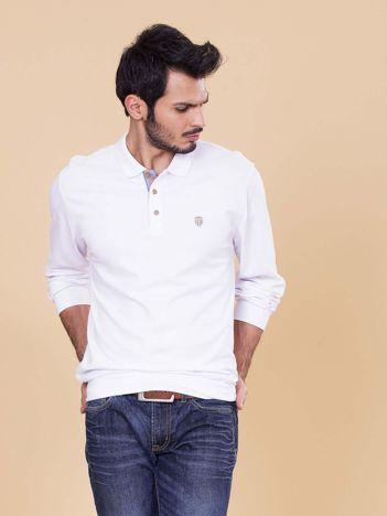 Biała koszulka polo męska z długim rękawem