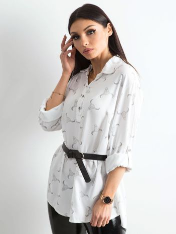 Biała koszulowa bluzka z nadrukiem