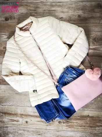 Biała kurtka przejściowa pikowana