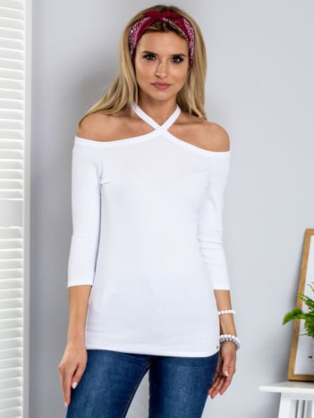 Biała prążkowana bluzka damska