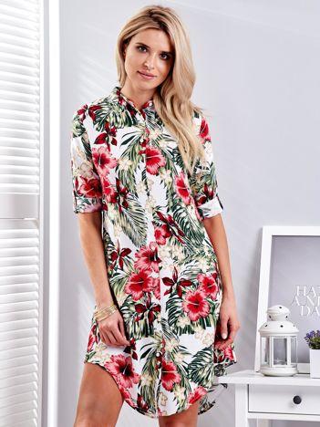 Biała sukienka w egzotyczne kwiaty