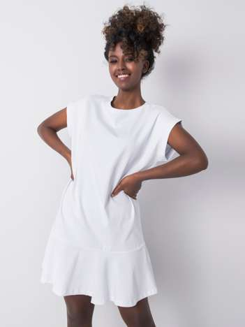 Biała sukienka z falbaną River