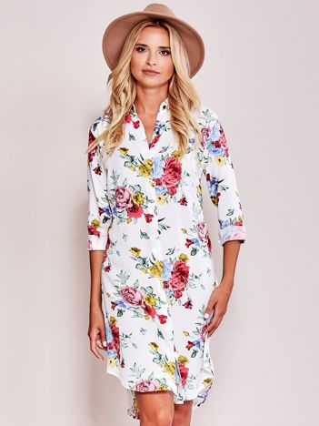 Biała sukienka z kołnierzykiem w kwiaty