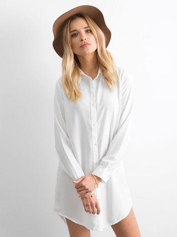 Biała szyfonowa sukienka koszulowa