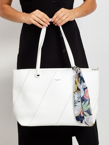 Biała torba shopper bag z apaszką