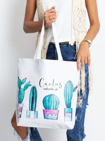 Biała torba w kaktusy
