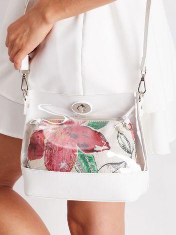 Biała torebka z kosmetyczką