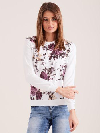 Biała wzorzysta bluza dresowa