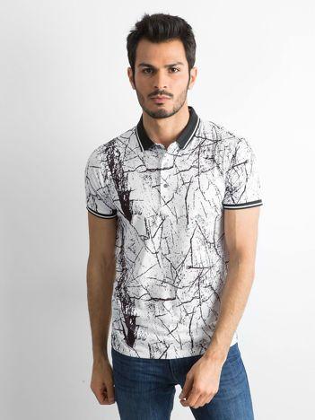 Biała wzorzysta męska koszulka polo