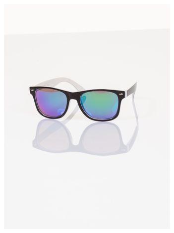 Białe Dziecięce lustrzanki z filtrami UV okulary z klasyczną oprawką WEYFARER NERD odporne na wyginania