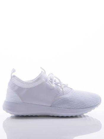 Białe ażurowe buty sportowe z wstawką z eco skóry, na sprężystej podeszwie