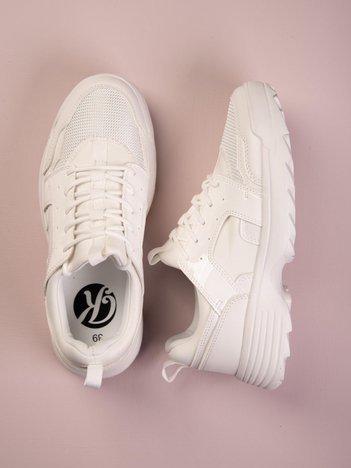 Białe buty sportowe Kylie z lakierowanymi i zwierzęcymi wstawkami