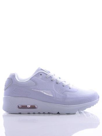 Białe buty sportowe z poduszką powietrzną i półażurową wstawką na przodzie cholewki