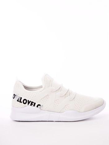 Białe buty sportowe z transparentnymi szlufkami