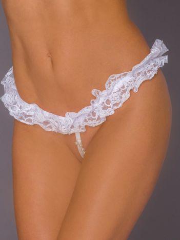 Białe koronkowe stringi erotyczne z perełkami