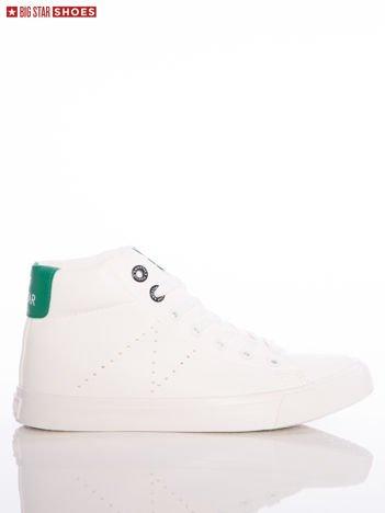 Białe trampki Big Star z wyższą cholewką i z zielonymi wstawkami nad piętą