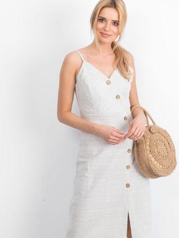 Biało-beżowa sukienka Impressive