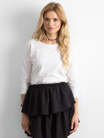 Biało-brzoskwiniowa bluzka damska w paski