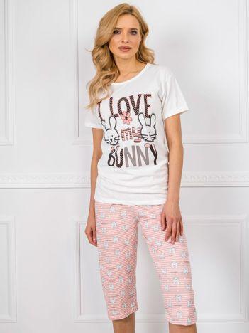 Biało-brzoskwiniowa piżama damska